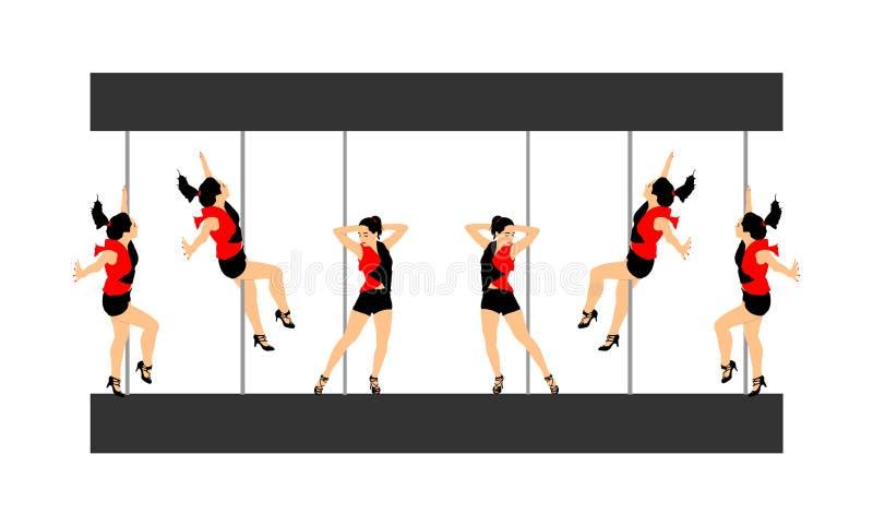 Illustration för kvinnor för Pole dansareflicka sexig Stripteasenummer för dansflicka som isoleras på vit bakgrund Underhållning  stock illustrationer