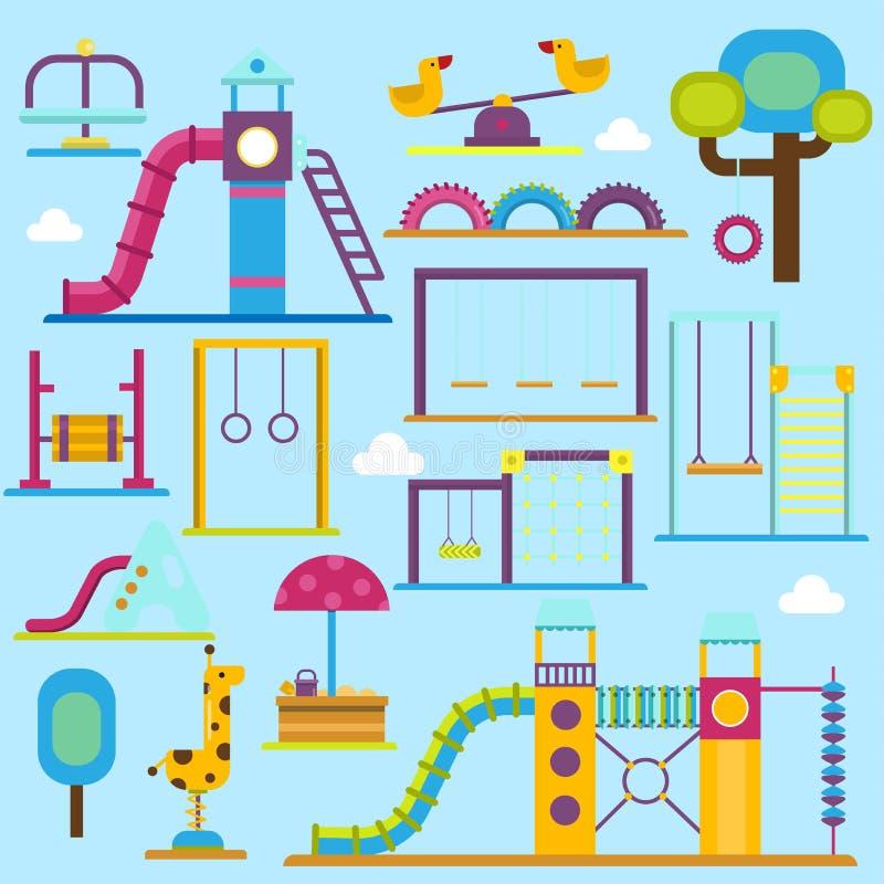 Illustration för lägenhet för aktivitet för playpark för barn för vektor för zon för ungelekplatslek rolig Lyckligt jordutomhus-  stock illustrationer