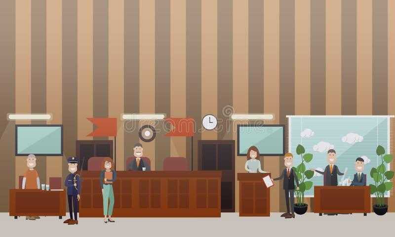 Illustration för lägenhet för domstolsförhandlingbegreppsvektor vektor illustrationer