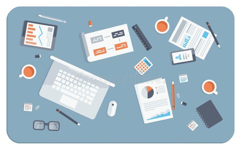 Illustration för lägenhet för affärsmöte stock illustrationer