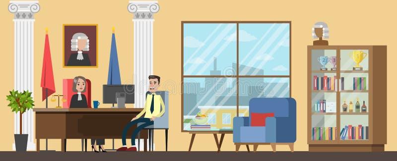 Illustration för lägenhet för inre för kontor för domstolbyggnadsdomare stock illustrationer