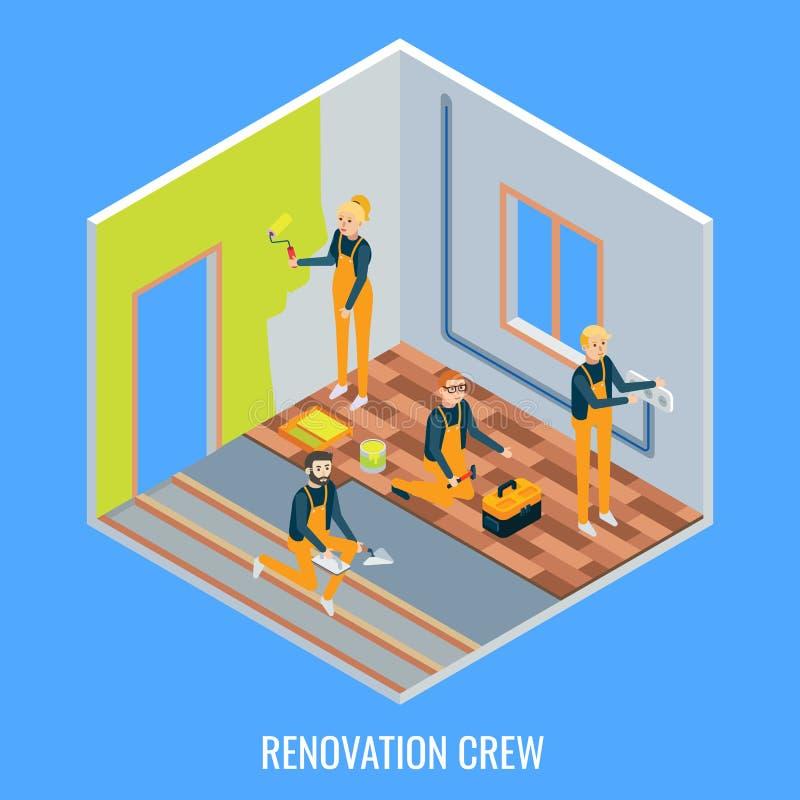 Illustration för lägenhet för renoveringbesättningvektor isometrisk royaltyfri illustrationer