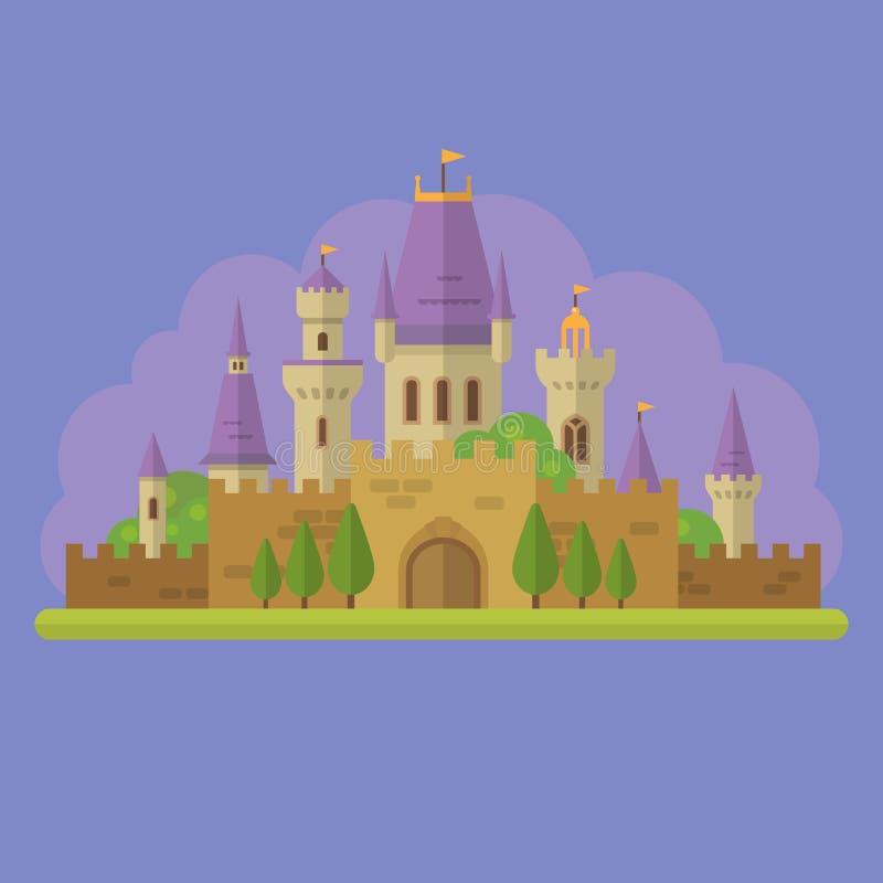 Illustration för lägenhet för sagaprinsessaslott stock illustrationer