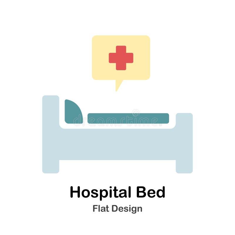 Illustration för lägenhet för sjukhussäng vektor illustrationer
