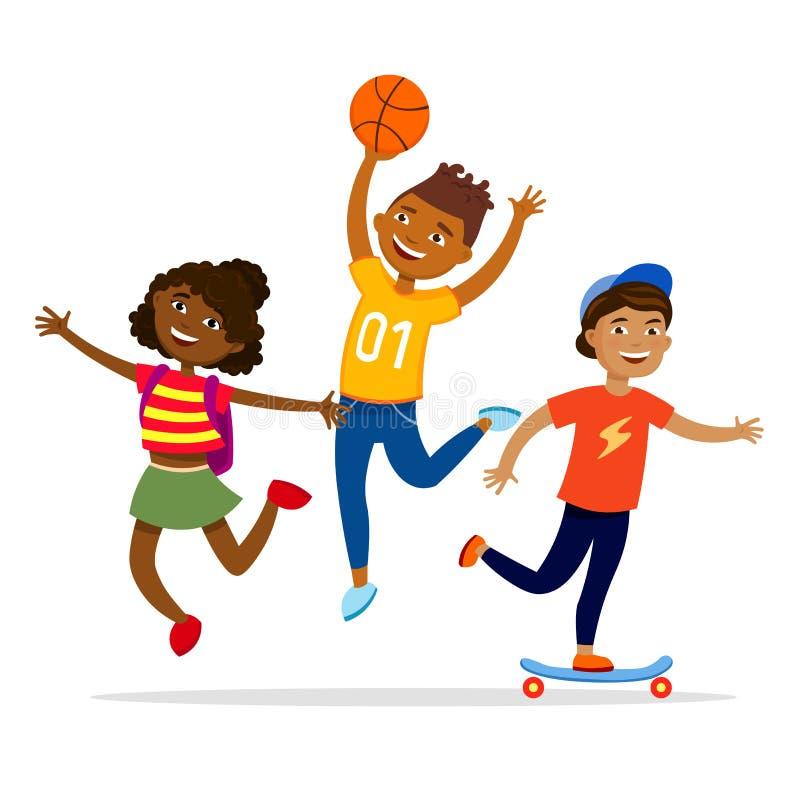 Illustration för lägenhet för vektor för begrepp för barnsportaktiviteter Gladlynta ungar som går, har partiet och gör aktivitete stock illustrationer