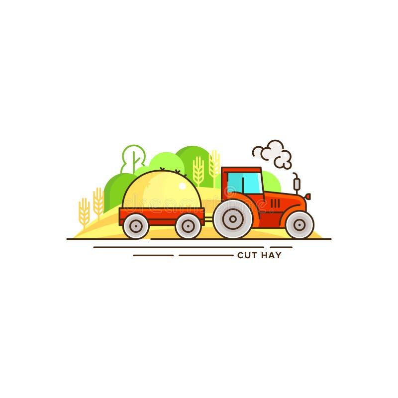 Illustration för lantbrukvektorlägenhet i linjär design Traktoren med klippt hö- och lantgårdlandskap som isoleras på vit stock illustrationer