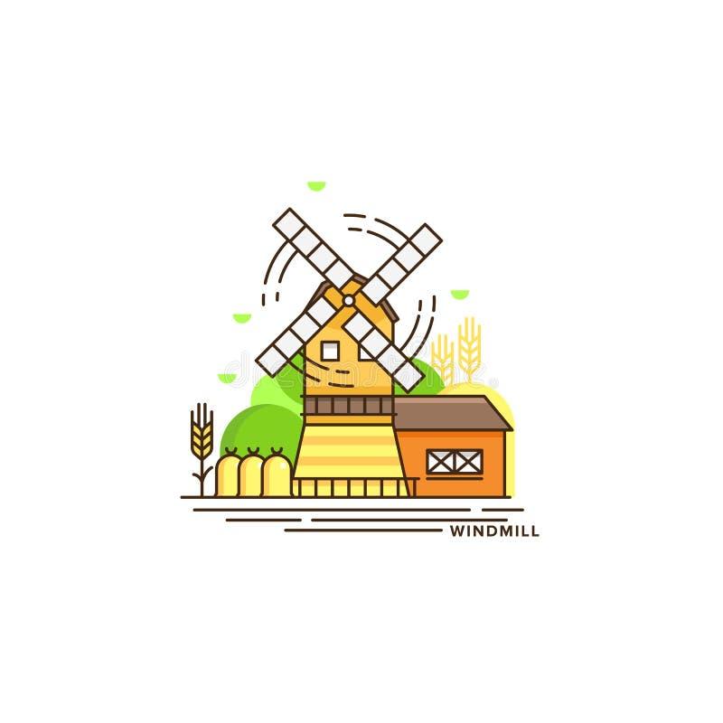 Illustration för lantbrukvektorlägenhet i linjär design Väderkvarn- och lantgårdlandskapet som isoleras på vit bakgrund royaltyfri illustrationer