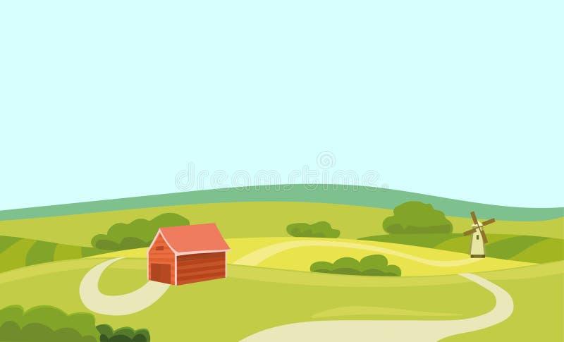 Illustration för lantgårdvektorlägenhet Fält och hus Åkerbrukt och nytt naturligt matbegrepp Apple vårträdgård stock illustrationer