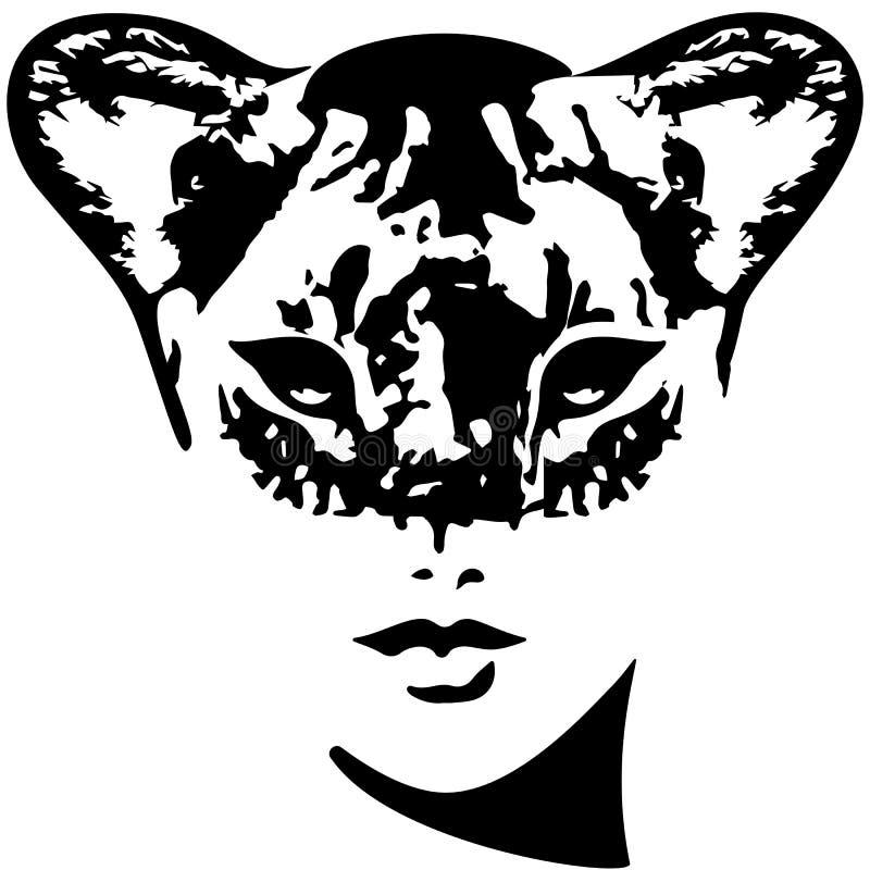Illustration för lejoninnaflickavektor Catwoman vektor illustrationer