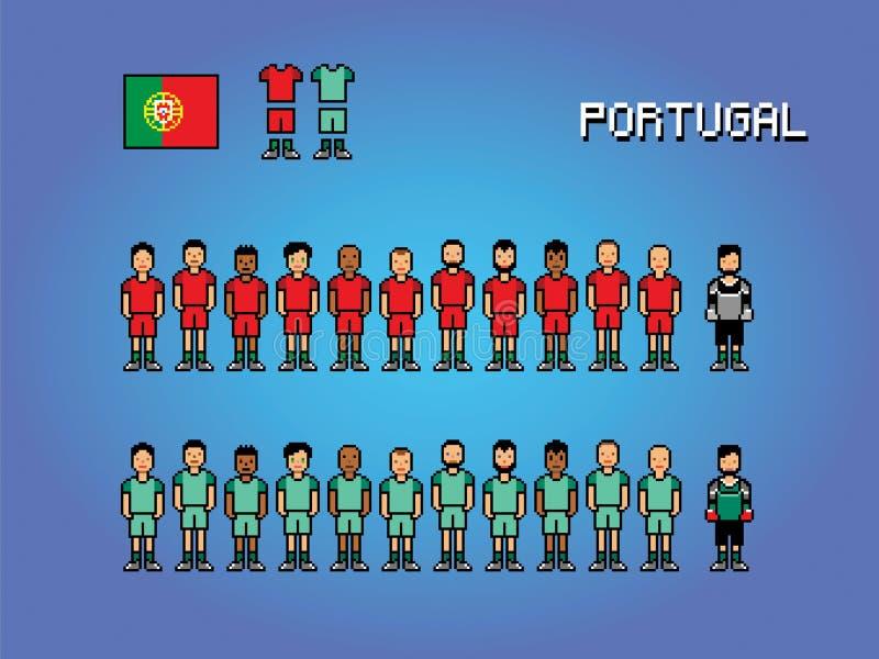 Illustration för lek för konst för PIXEL för Portugal fotbollslagspelare enhetlig stock illustrationer