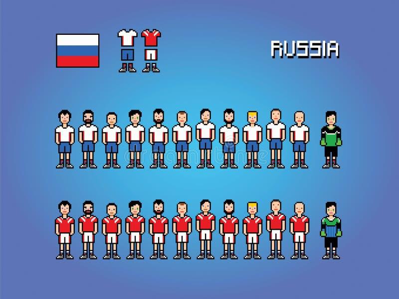 Illustration för lek för konst för PIXEL för Ryssland fotbollslagspelare enhetlig vektor illustrationer