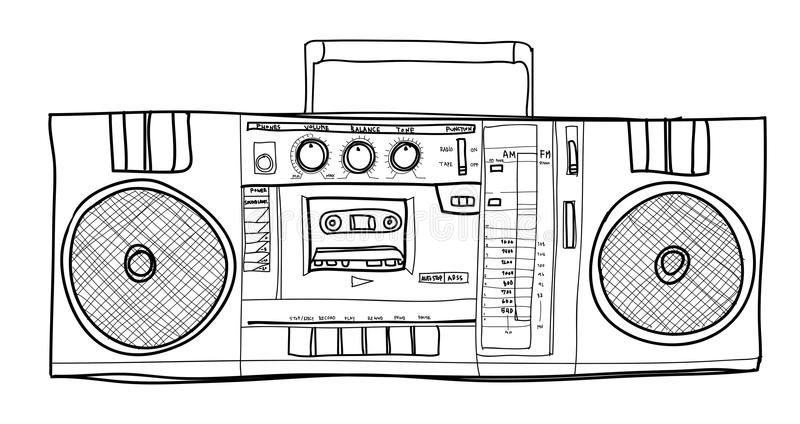 Illustration för lineart för stereo- Boombox radiotappning handdrawn stock illustrationer