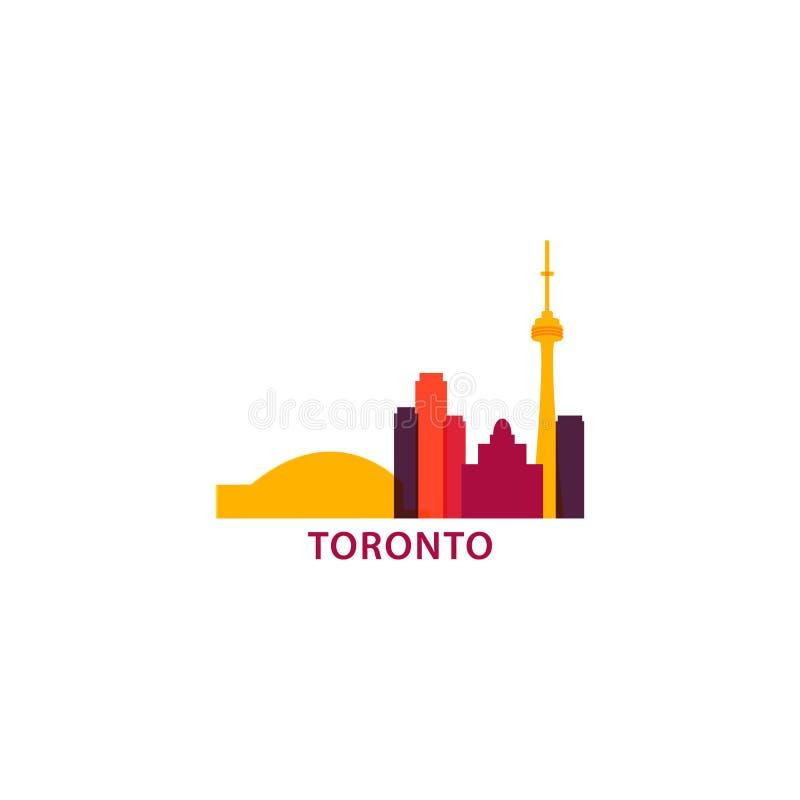 Illustration för logo för vektor för kontur för Toronto stadshorisont stock illustrationer