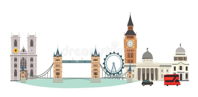 Illustration för London Cityscapevektor Tecknad filmFörenade kungariket horisont stock illustrationer
