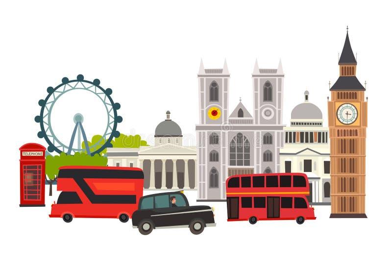 Illustration för London horisontvektor Arkitektur och transport stock illustrationer