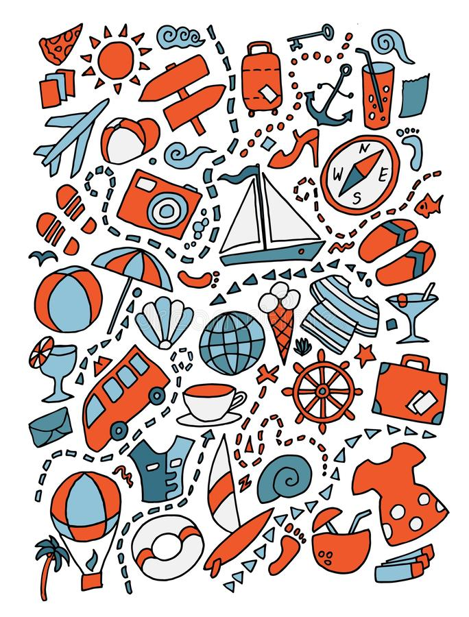 Illustration för lopp för klotter för tecknad film gullig hand dragen Massor av objektbakgrund vektor illustrationer