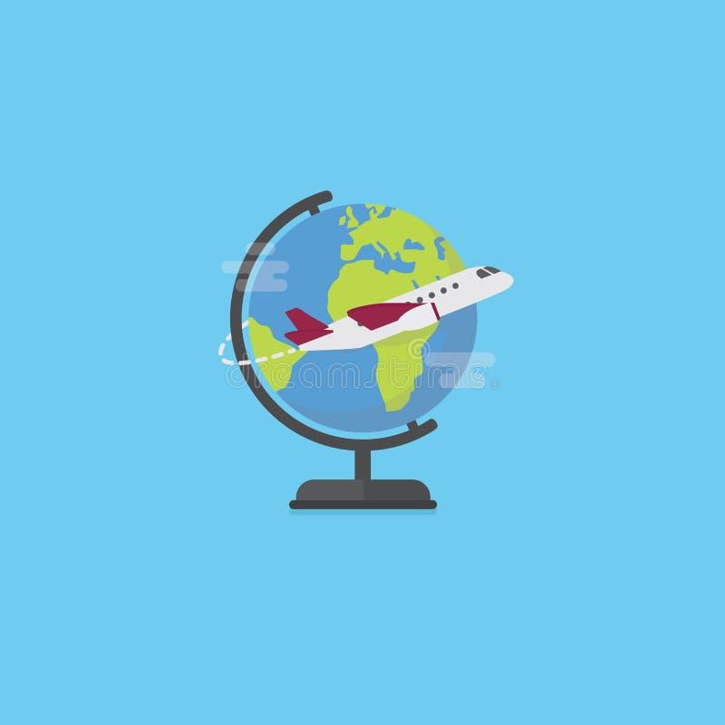 Illustration för lopptid Plant jordklot med det inhemska flygplanet runt om loppvärlden stock illustrationer