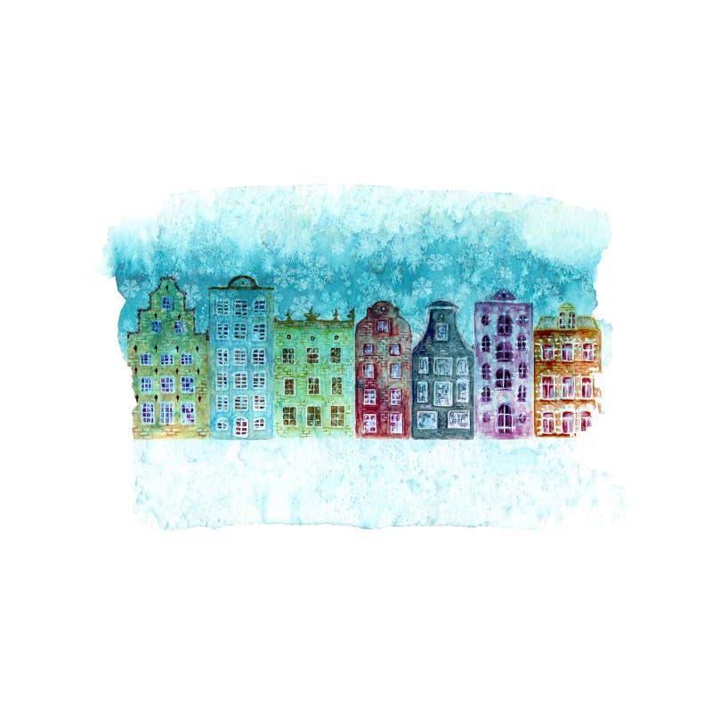 Illustration för lyckligt nytt år och julmed hus för färgrik vattenfärg för vinter gamla europeiska, snö på blå krickafläck vektor illustrationer