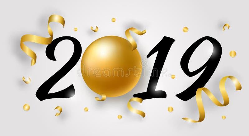 Illustration för lyckligt nytt år för vektor med 2019 stock illustrationer