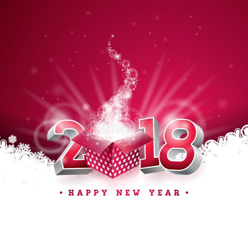 Illustration 2018 för lyckligt nytt år för vektor med gåvaasken och nummer 3d på skinande röd bakgrund Feriedesign för högvärdigt stock illustrationer