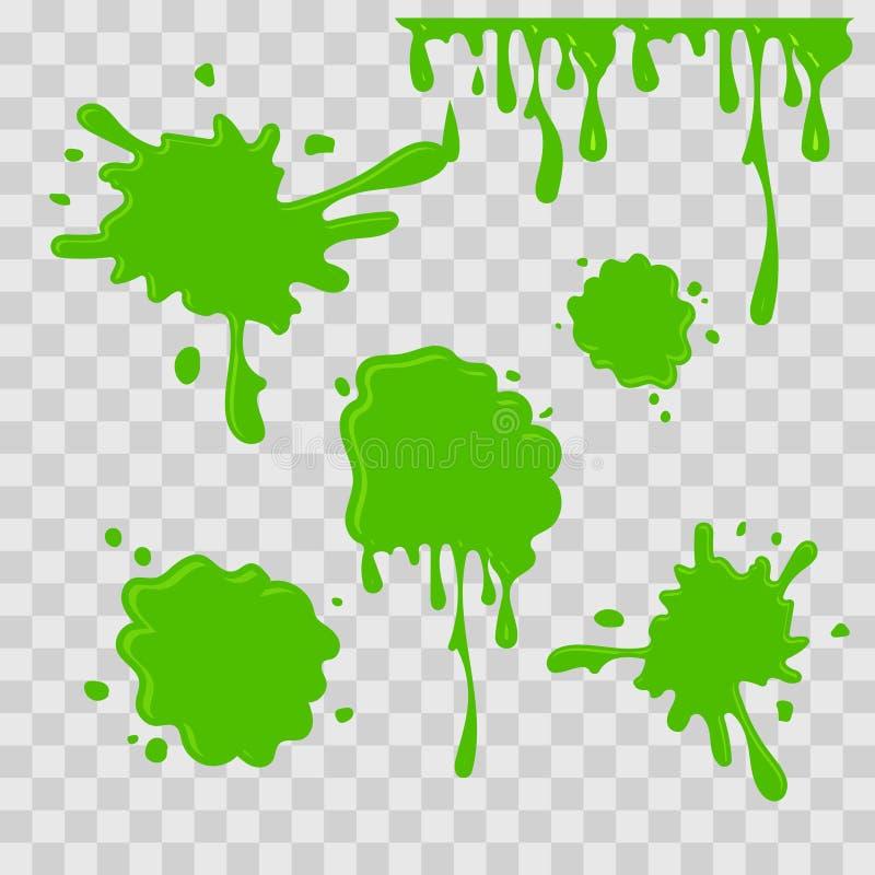 Illustration för målarfärgdroppabstrakt begrepp Grön slam på rutig genomskinlig bakgrund Plan stil vektor för set för tecknad fil royaltyfri illustrationer