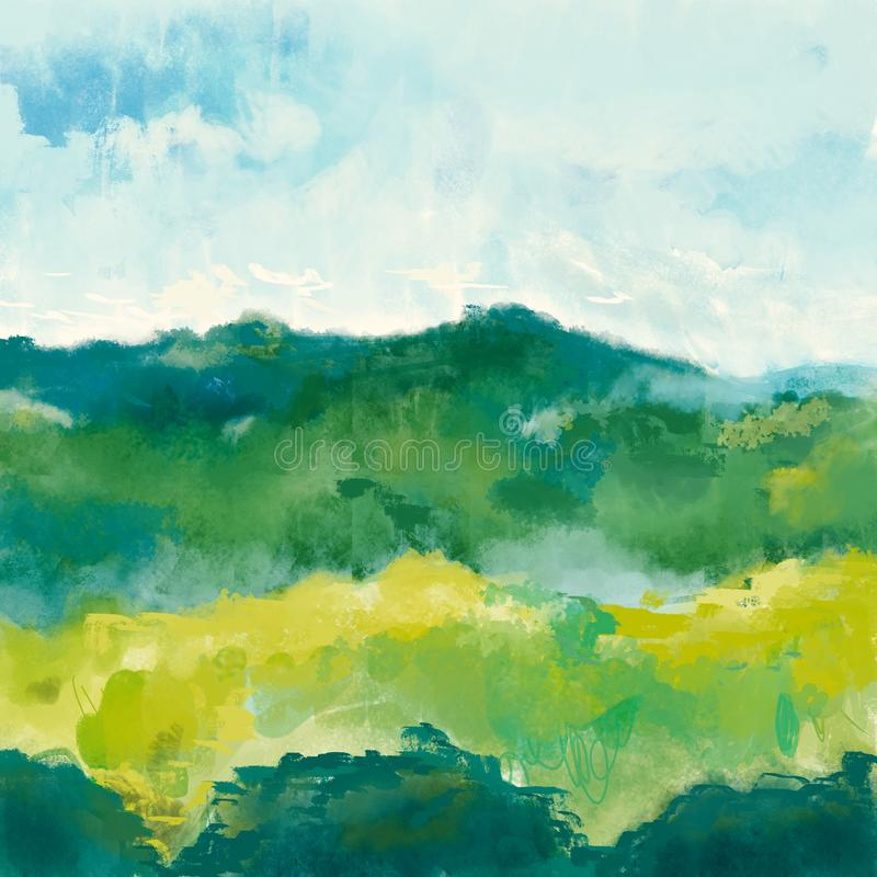 Illustration för målning för naturlandskapkonst Landskap av berget, skogen och himmel vektor illustrationer