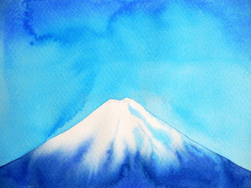 Illustration för målning för vattenfärg för fujisan och blå himmel för Fuji berg arkivfoton