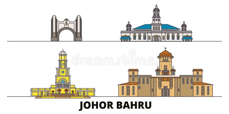Illustration för Malaysia Johor Bahru plan gränsmärkevektor Malaysia Johor Bahru linje stad med berömda loppsikt vektor illustrationer