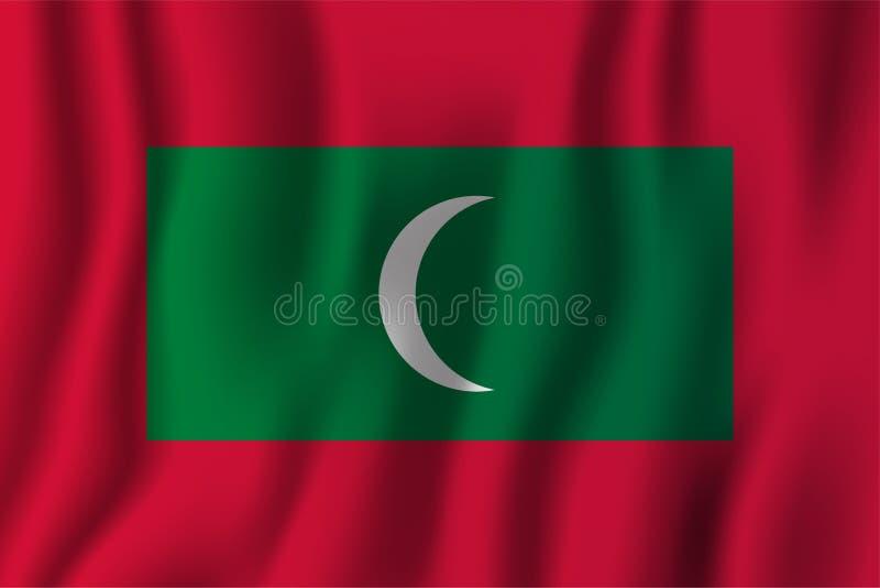 Illustration för Maldiverna realistisk vinkande flaggavektor Nationellt landsbakgrundssymbol retro självständighet för bakgrundsd vektor illustrationer