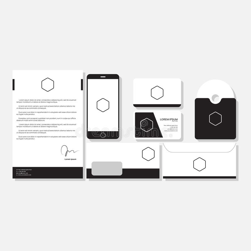 Illustration för mall för brevpappermodelldesign isolerad vektor stock illustrationer