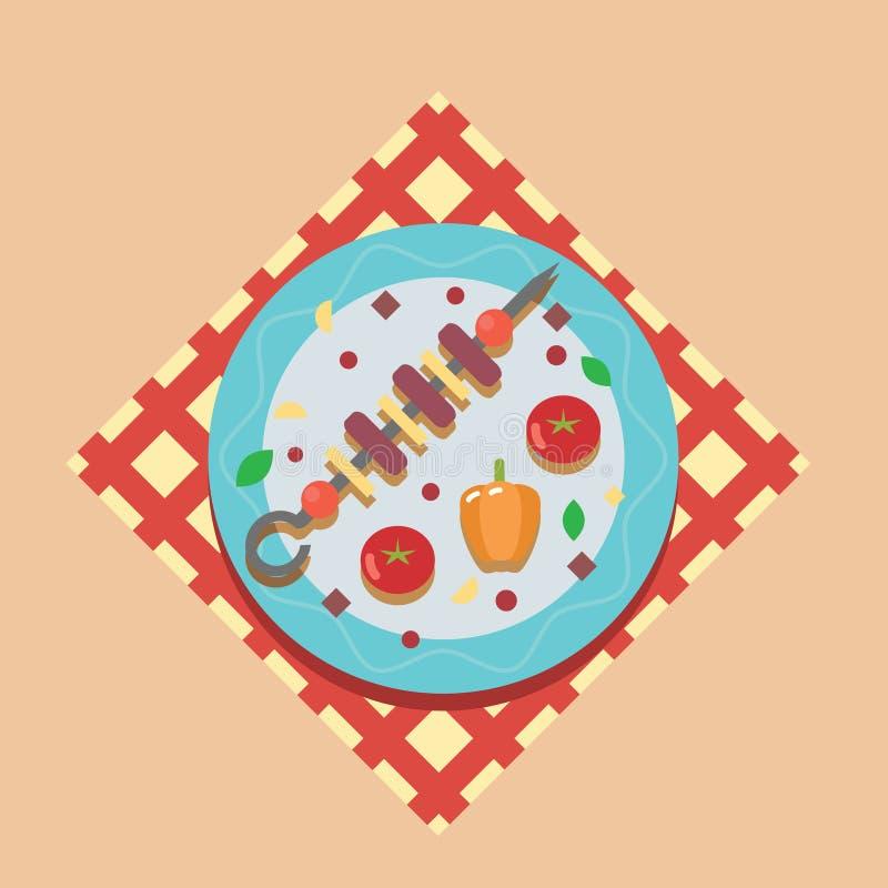 Illustration för mall för design för lägenhet för symbol för symboler för mat för picknick för sommar för matställe för familj fö stock illustrationer