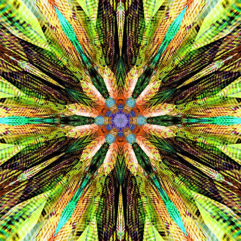 Illustration för mandala för sakralt meditationabstrakt begrepp färgrik med stucken effekt vektor illustrationer