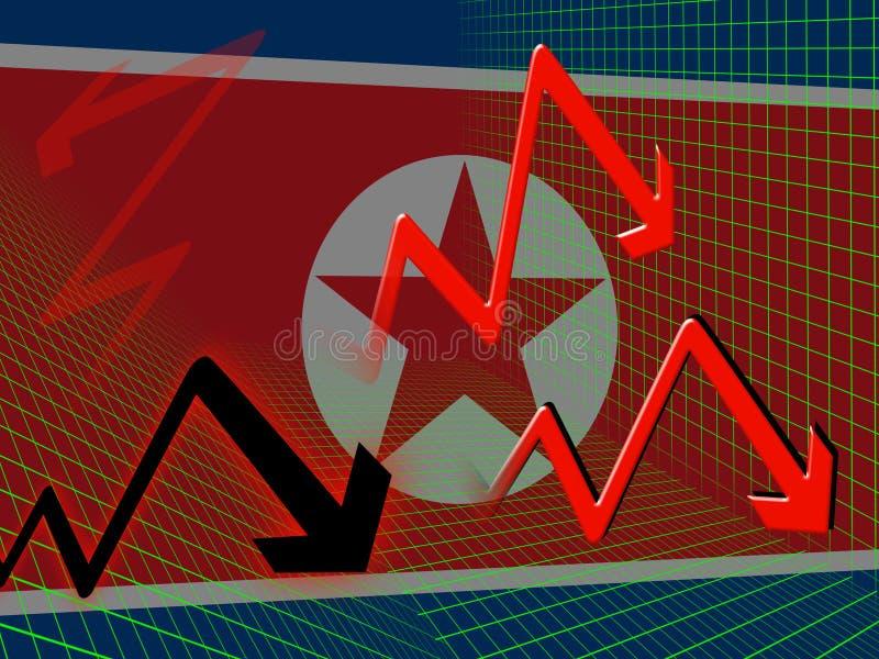 Illustration för marknad 3d för Nordkorea ekonomibrist vektor illustrationer