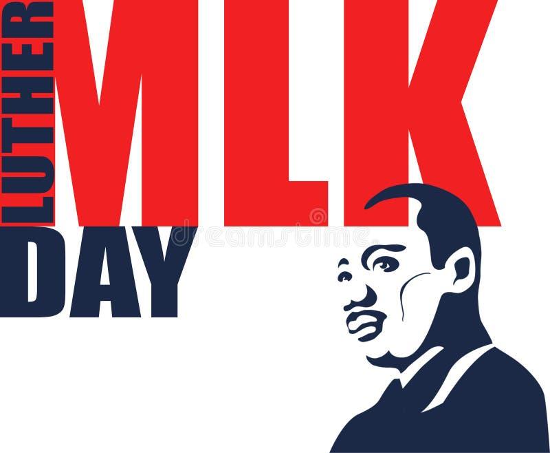 Illustration för Martin Luther King Day på vit bakgrund stock illustrationer