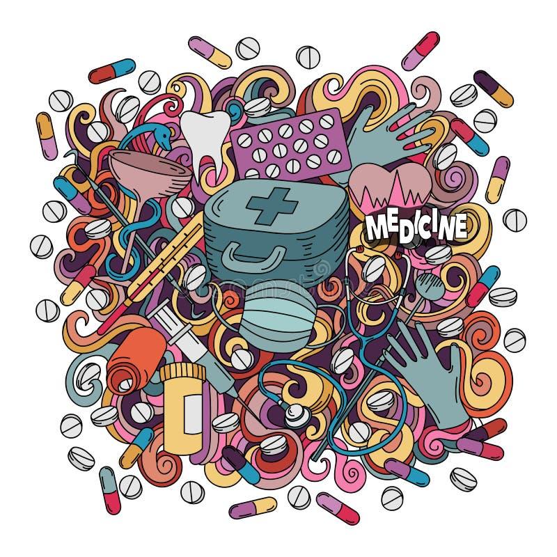 Illustration för medicin för klotter för tecknad film gullig hand dragen vektor illustrationer