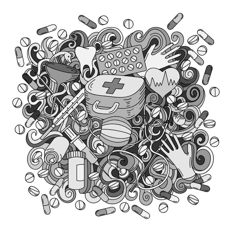 Illustration för medicin för klotter för tecknad film gullig hand dragen Sketch specificerade stock illustrationer