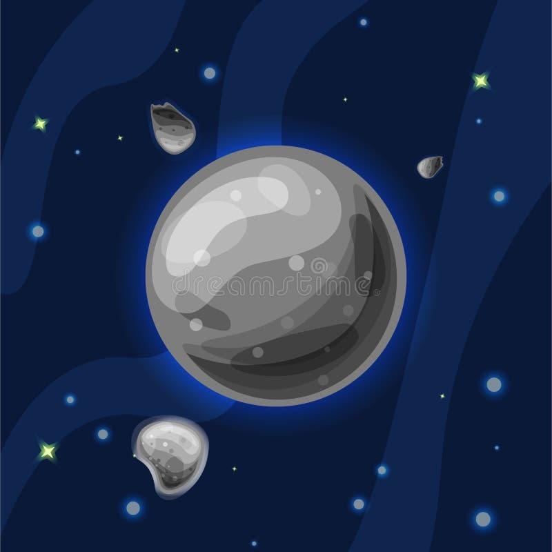 Illustration för Mercury vektortecknad film Grå planet Mercury av solsystemet i mörkt djupblått utrymme som isoleras på blått royaltyfri illustrationer