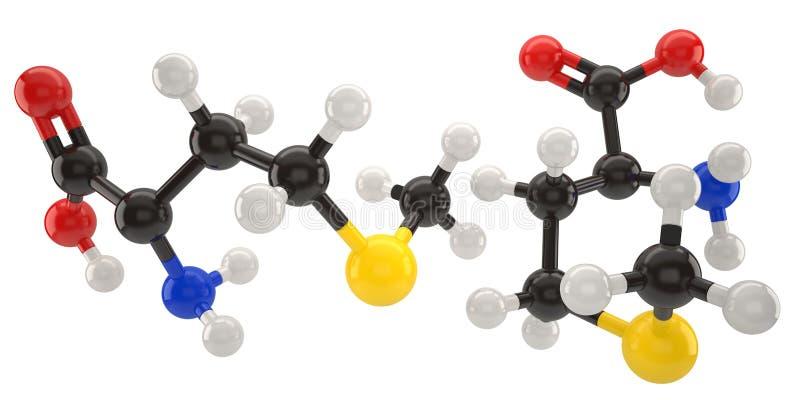 Illustration för Methioninemolekylstruktur 3d med urklippbanan vektor illustrationer