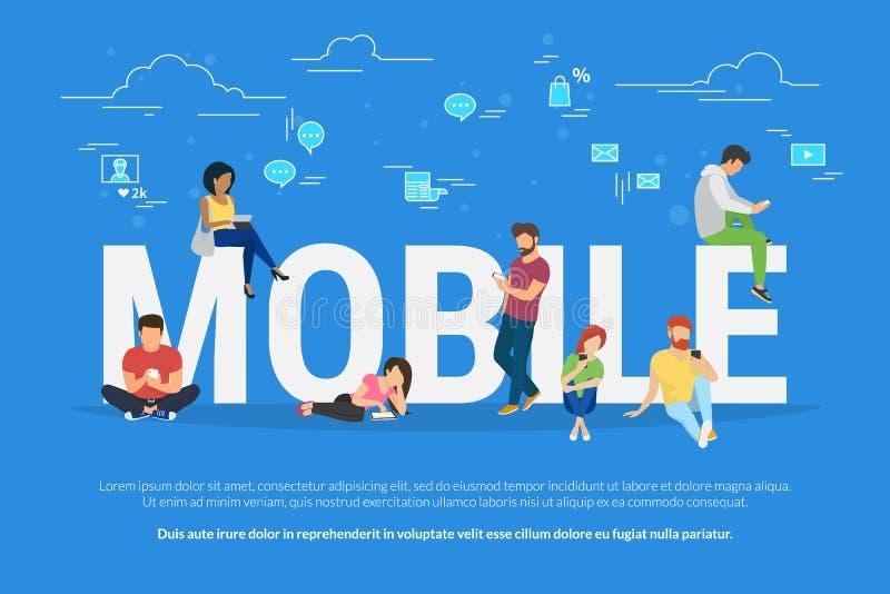 Illustration för mobil enhetanvändningbegrepp stock illustrationer