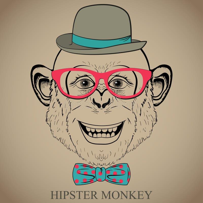 Illustration för modehandteckning av apan i exponeringsglas, fluga och plommonstop. Hipsterblick. Retro tappningstil.  Klotterstil royaltyfri illustrationer
