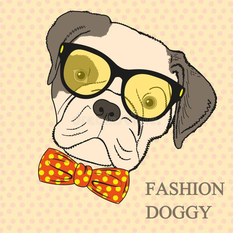 Illustration för modehandteckning av hunden i exponeringsglas och fluga. Hipsterblick. Retro tappningstil.  Klotterstil vektor illustrationer