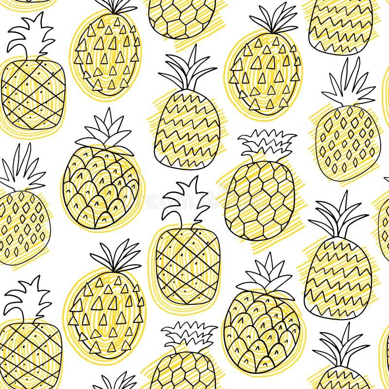 Illustration för modell för ananasvektor sömlös Tropisk frukt för sommar royaltyfri illustrationer