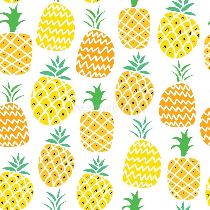 Illustration för modell för ananasvektor sömlös Tropisk frukt för sommar vektor illustrationer