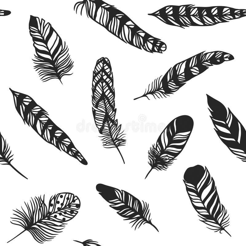 Illustration för modell för stil för vektor för effekt för Boho fjäder hand dragen sömlös royaltyfri illustrationer