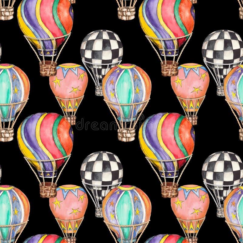 Illustration för modell för sömlös för tappning för samlingar för luftballonger för cirkus hand för vattenfärg utdragen repeatabl stock illustrationer