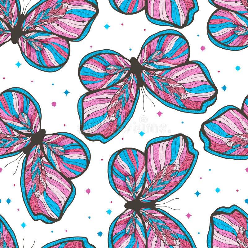 Illustration för modell för skönhetfjäril hand dragen sömlös Dekorativ tappningstil Vektorklotterbeståndsdel royaltyfri illustrationer