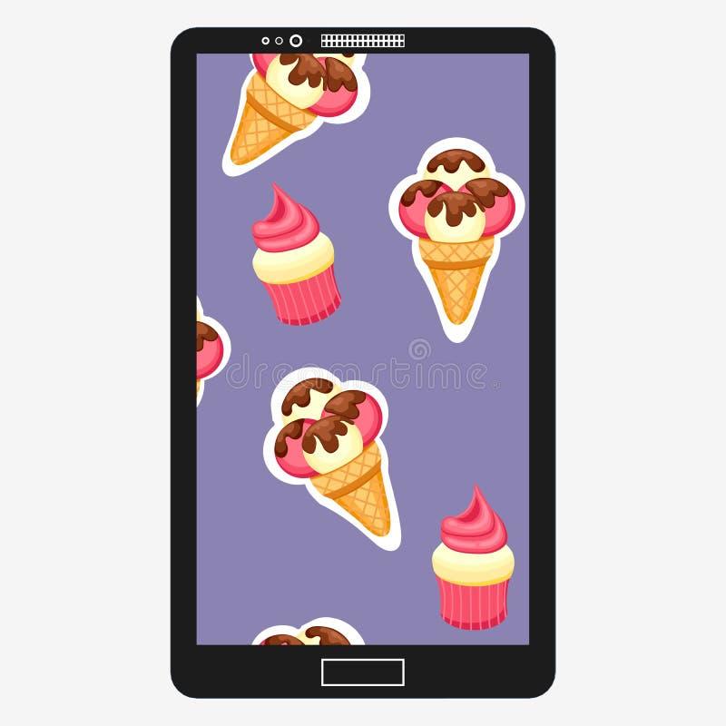Illustration för modellglass- och muffinvektor Bakgrund av texturjordgubben och vaniljglassefterrätten och stock illustrationer