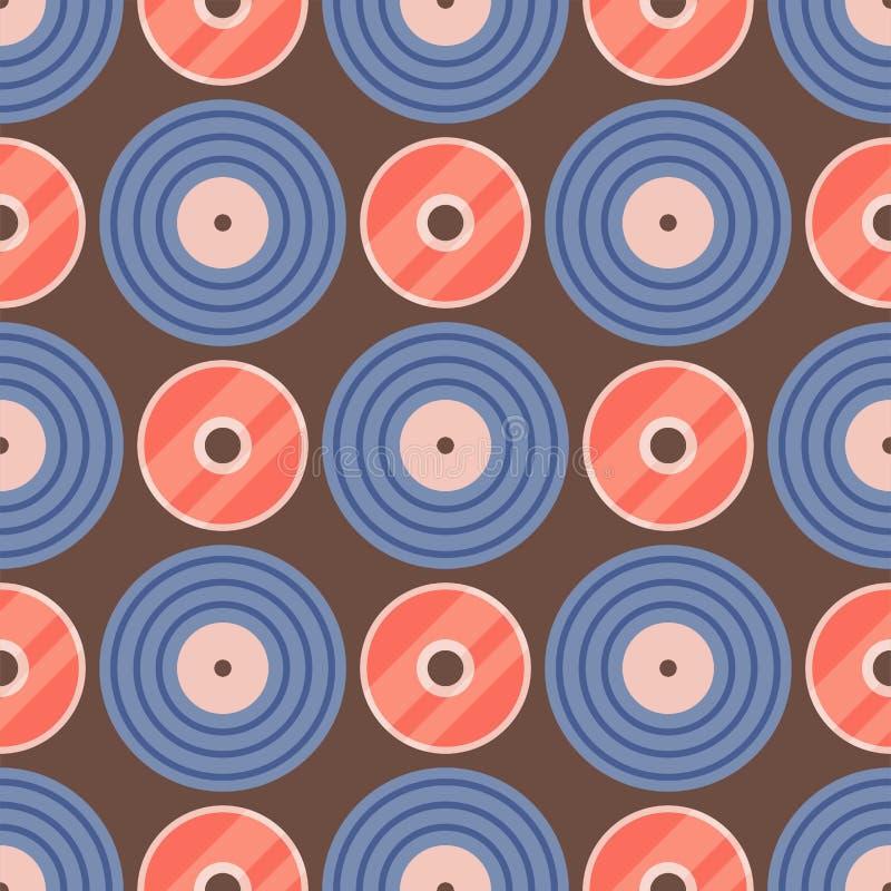 Illustration för musik för vektor för sömlöst för vinylmusikal för modell retro för rekord ljudsignalt för backgroun spår för dis vektor illustrationer