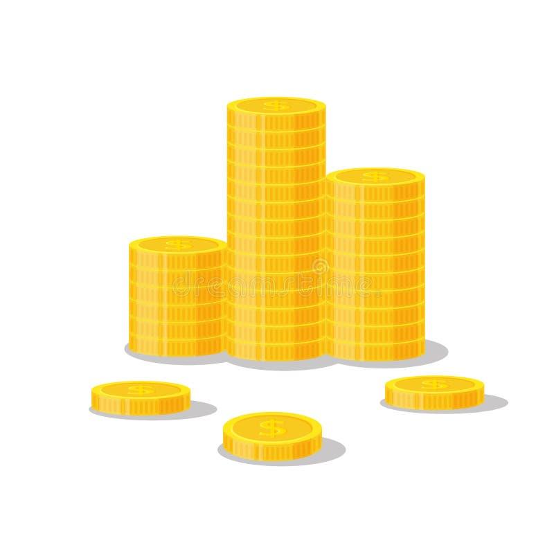 Illustration för myntbuntvektor, hög för symbolslägenhetfinans, dollarmynthög Guld- pengaranseende på staplat guld- stycke vektor illustrationer