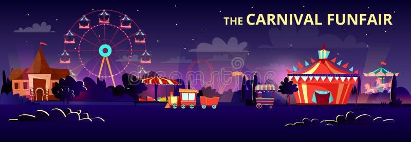 Illustration för nöjesfältvektortecknad film av karnevalfunfairen på natten med belysning av ritter, karuseller och cirkusen royaltyfri illustrationer
